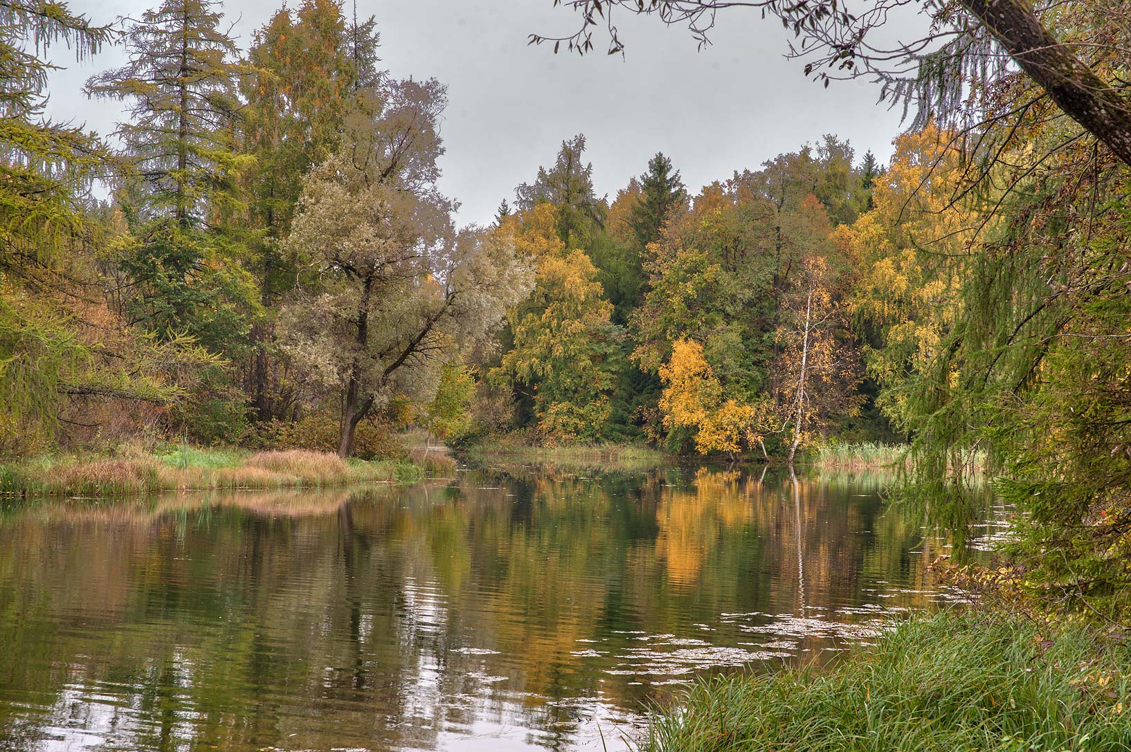 View from Zakharov Island on Beloe Lake in Gatchina, a suburb of St.Petersburg. Russia