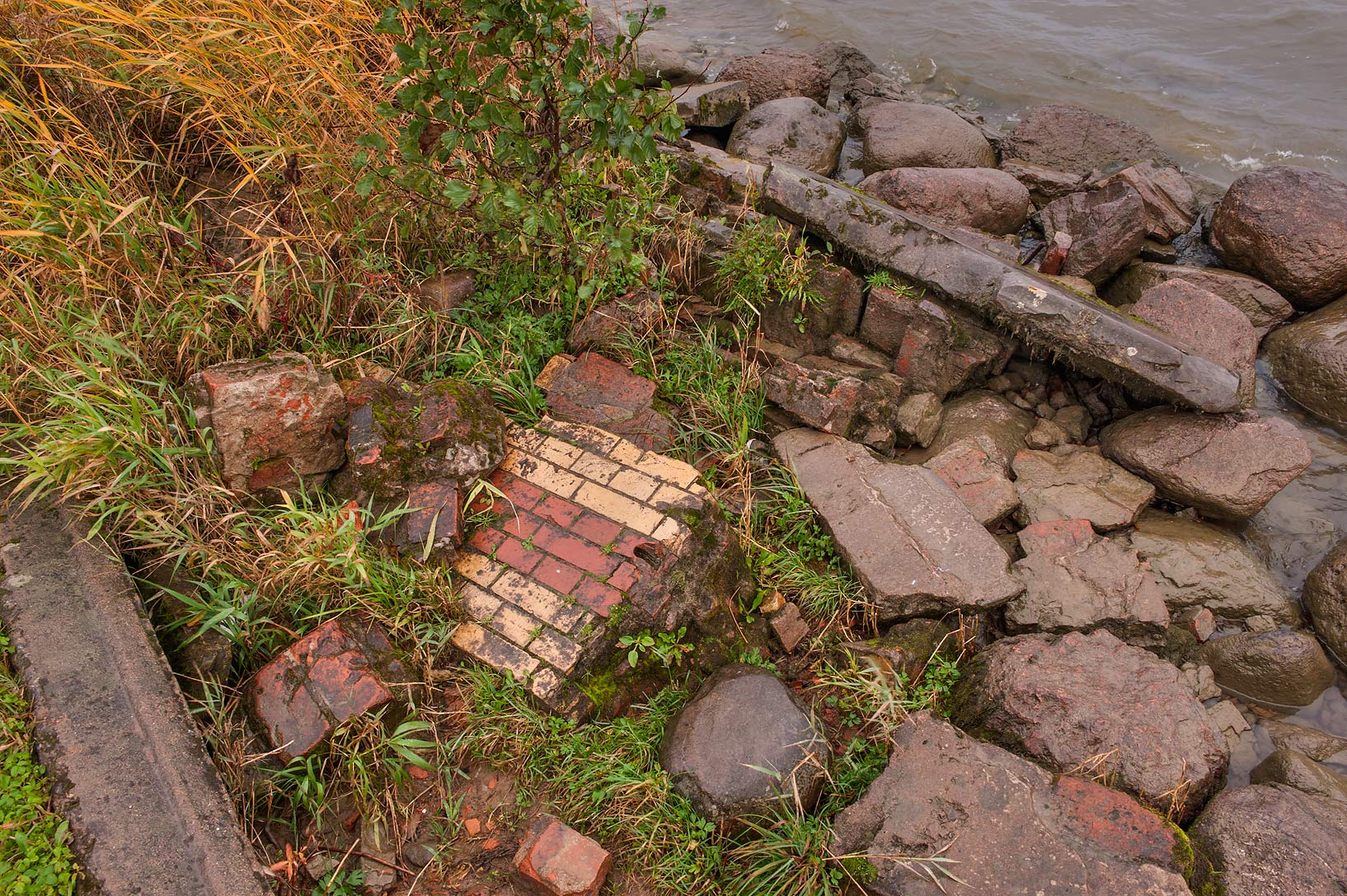 Rubble from Lower Dacha of Tsar Nicholas II on a...west from St.Petersburg. Russia
