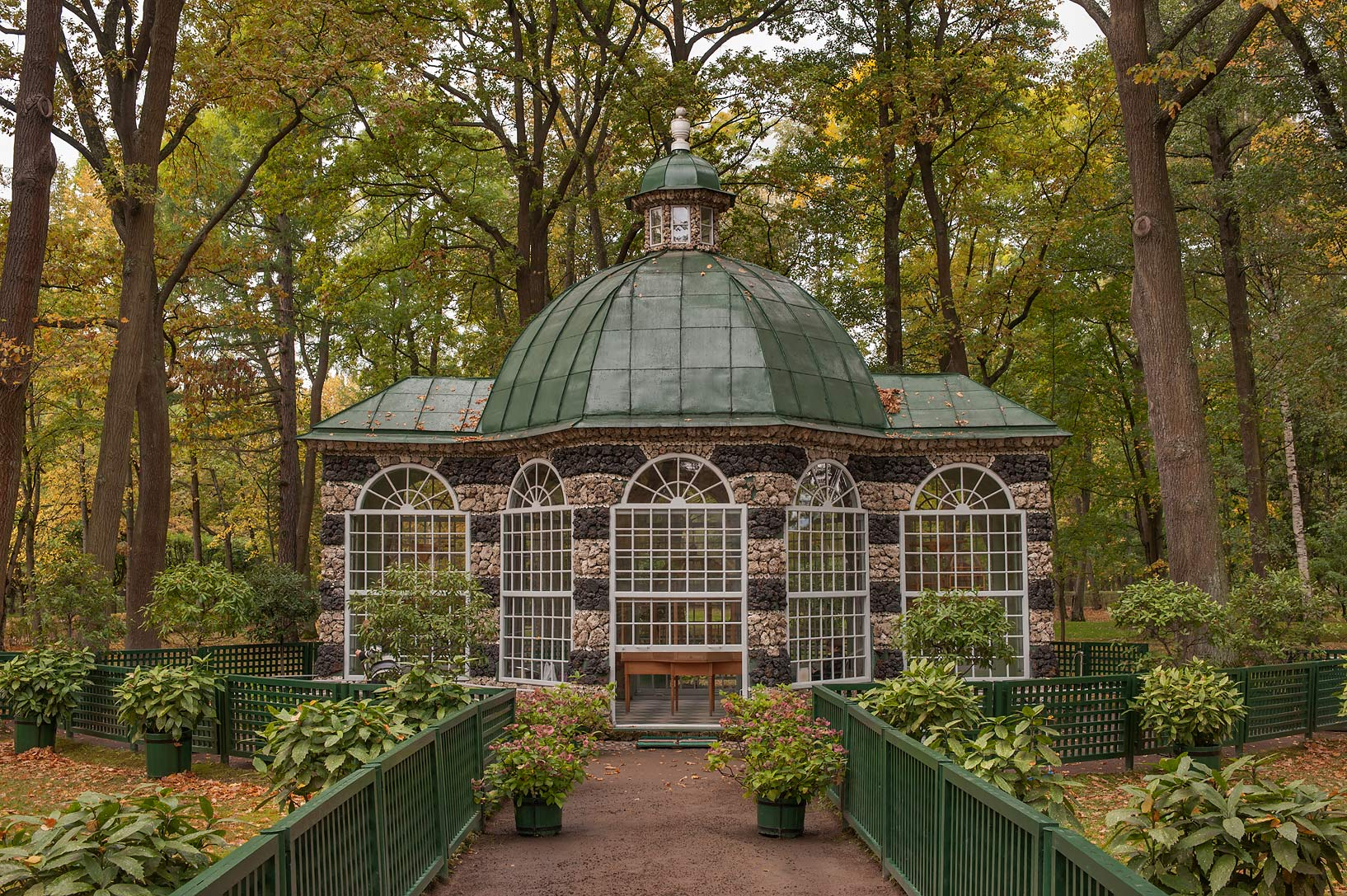 Volier Pavilion (West) in Lower Gardens. Peterhof...a suburb of St.Petersburg. Russia