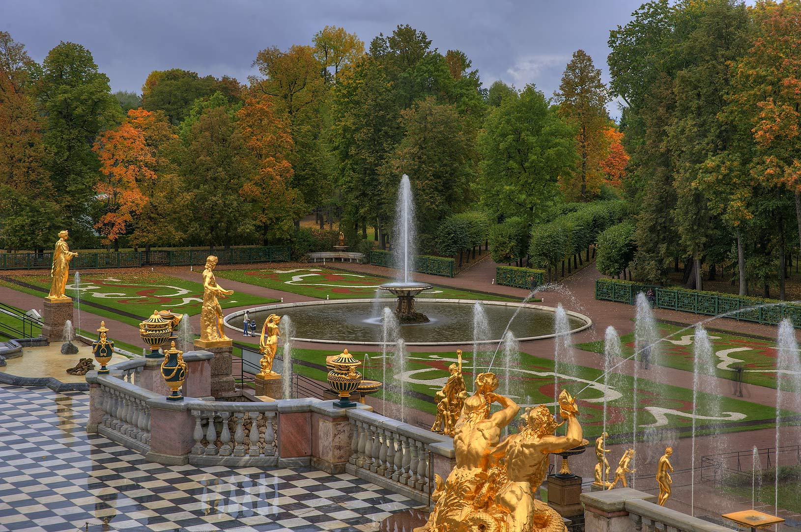 Terrace of Grand Cascade in Lower Gardens...a suburb of St.Petersburg. Russia