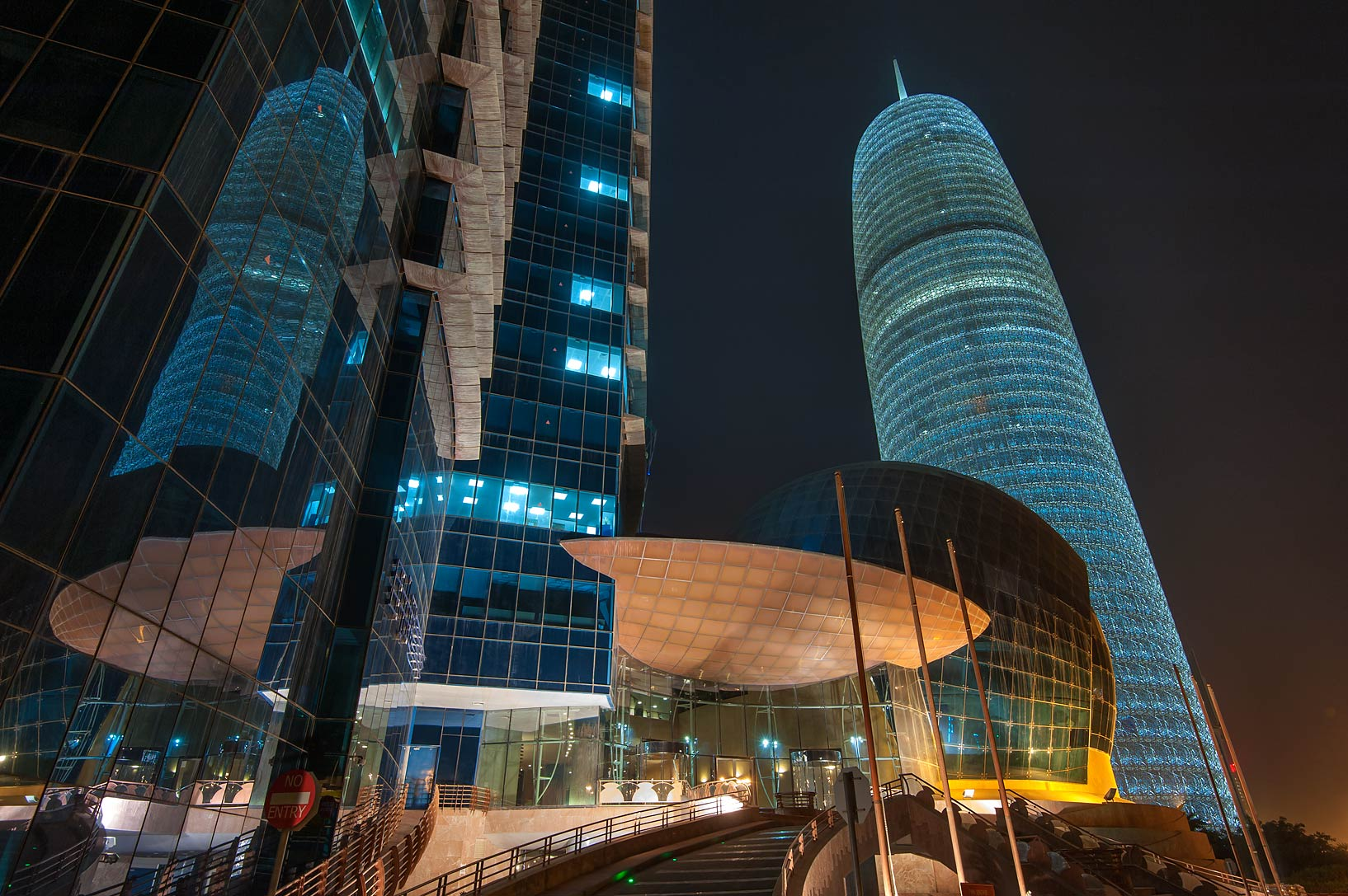 Lobby of WTC and Burj Qatar Tower in West Bay at morning. Doha, Qatar