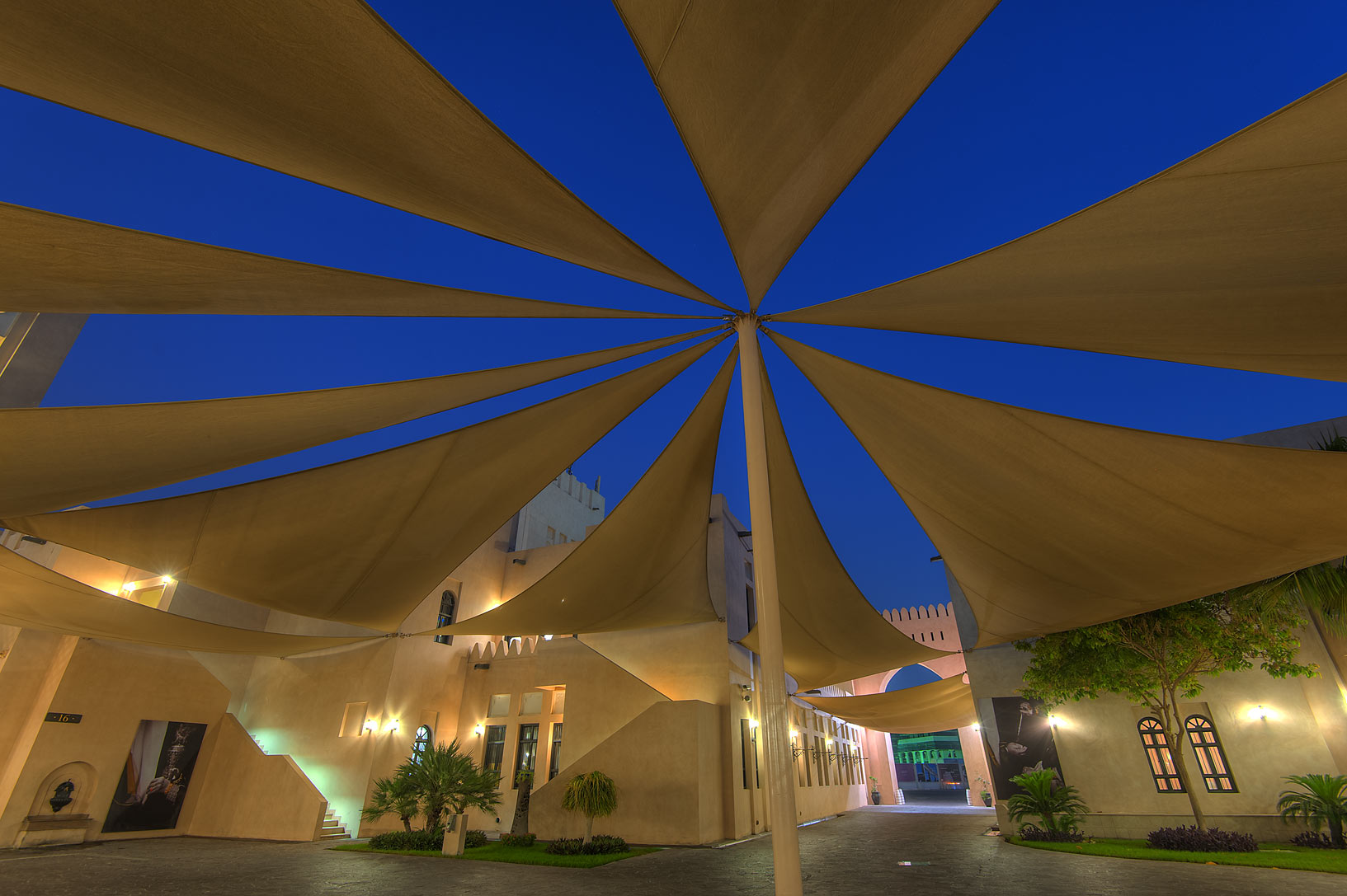Shade sails in Katara Cultural Village at morning. Doha, Qatar