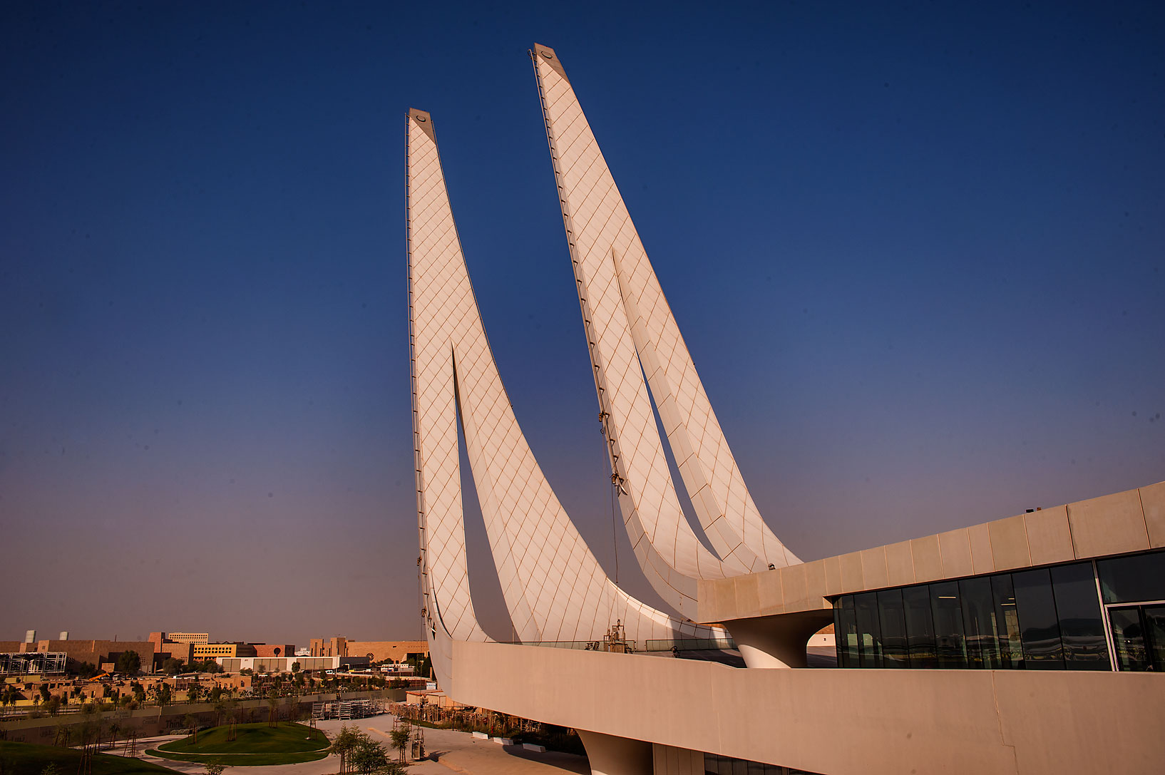 View from outdoor courtyard of Education City Mosque. Doha, Qatar