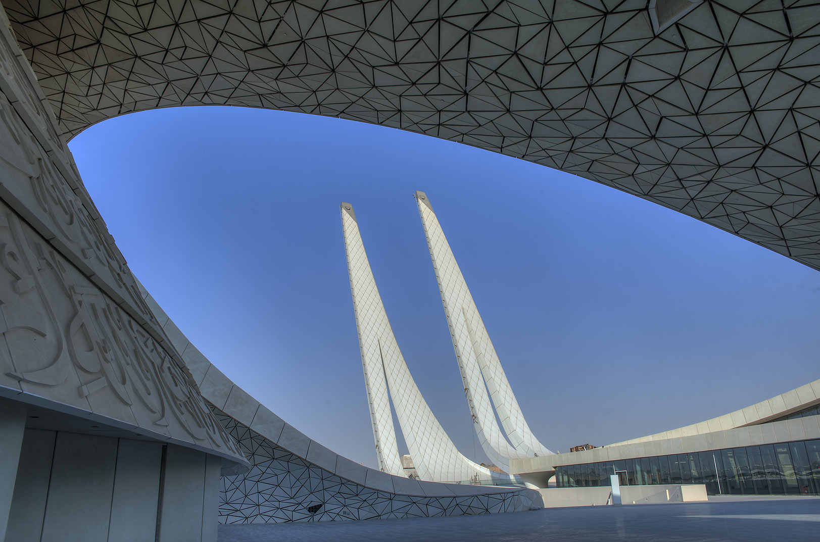Entrance of outdoor courtyard of Education City Mosque. Doha, Qatar