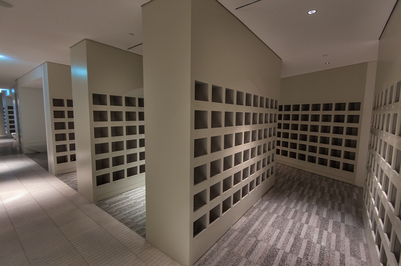 Shoe lockers sections in Education City Mosque. Doha, Qatar