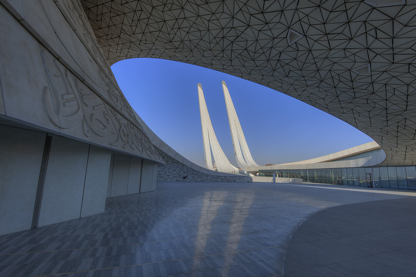 Oval courtyard in Education City Mosque. Doha, Qatar