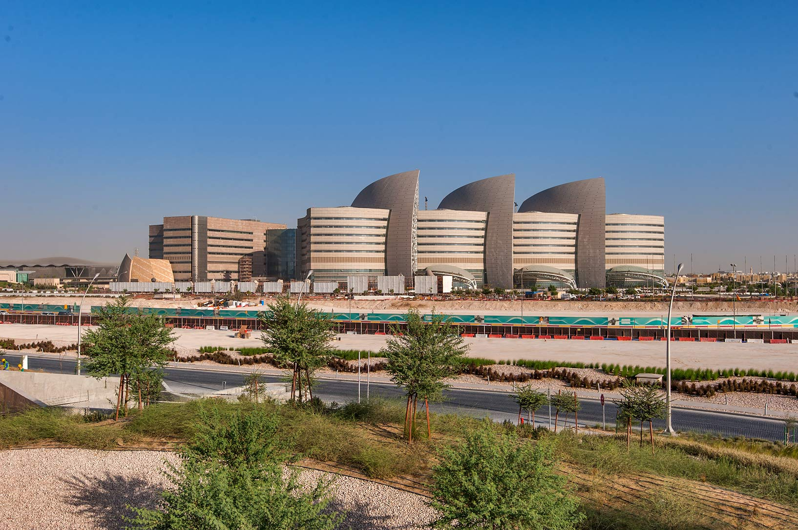 Sidra medical center from Education City Mosque. Doha, Qatar