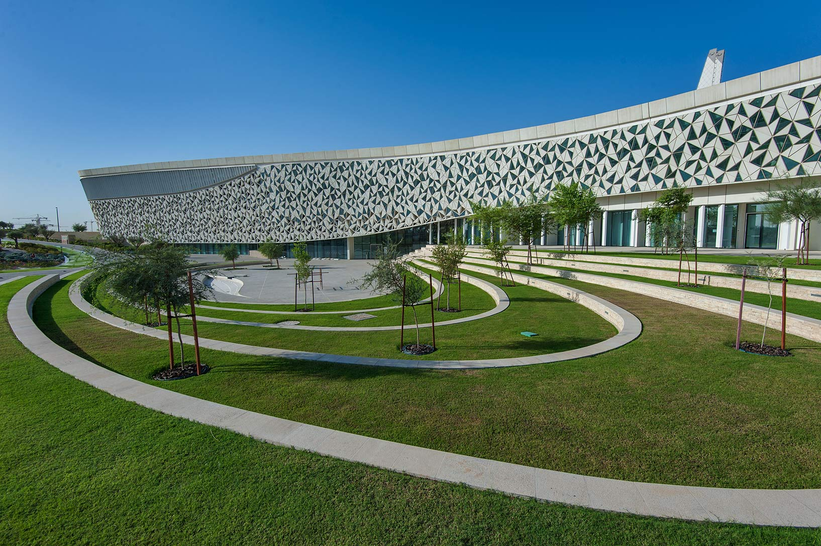Grassy courtyard of Education City Mosque. Doha, Qatar