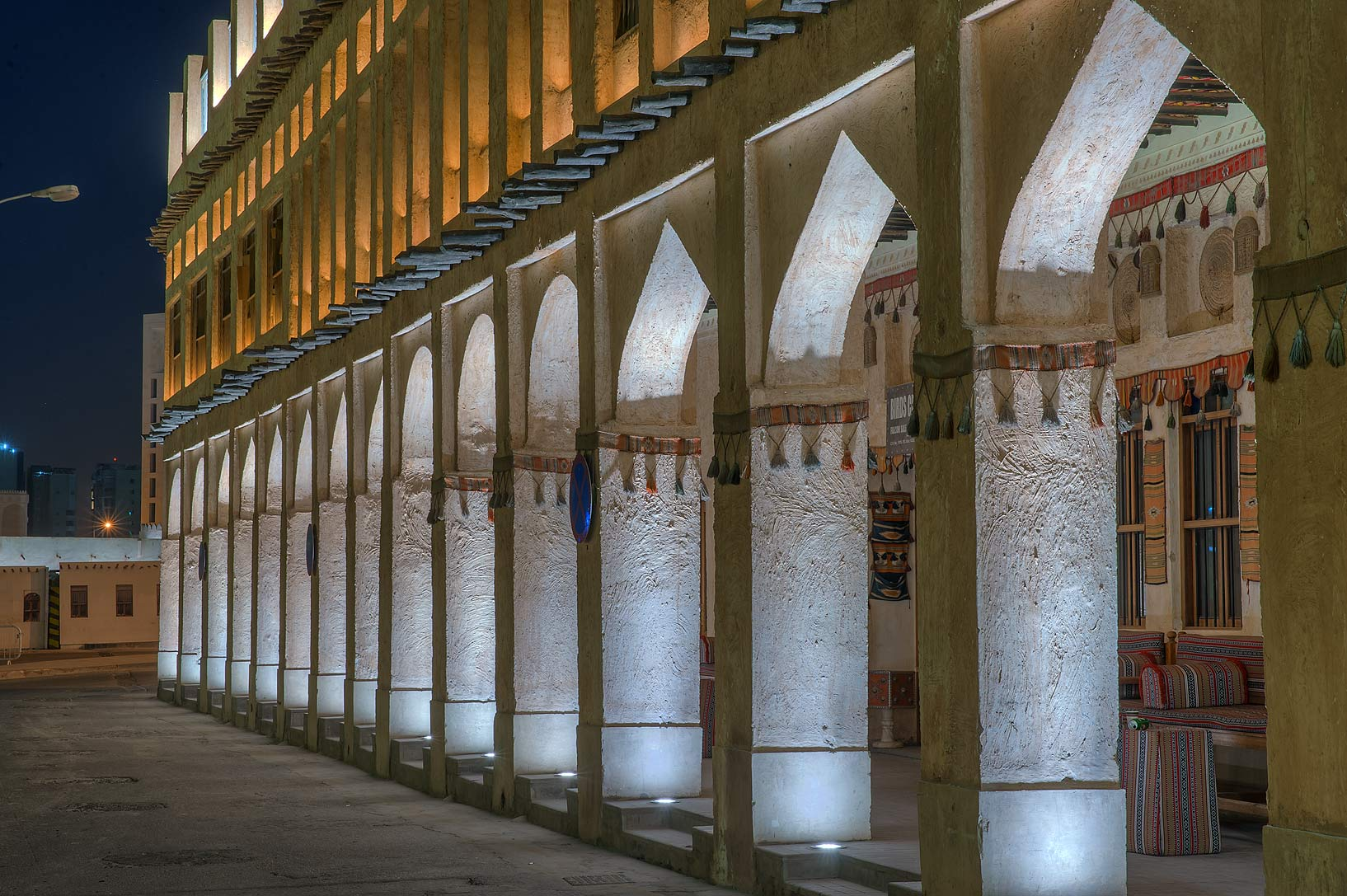Lights of gallery of Bird Market in Souq Jaidah behind Souq Waqif. Doha, Qatar