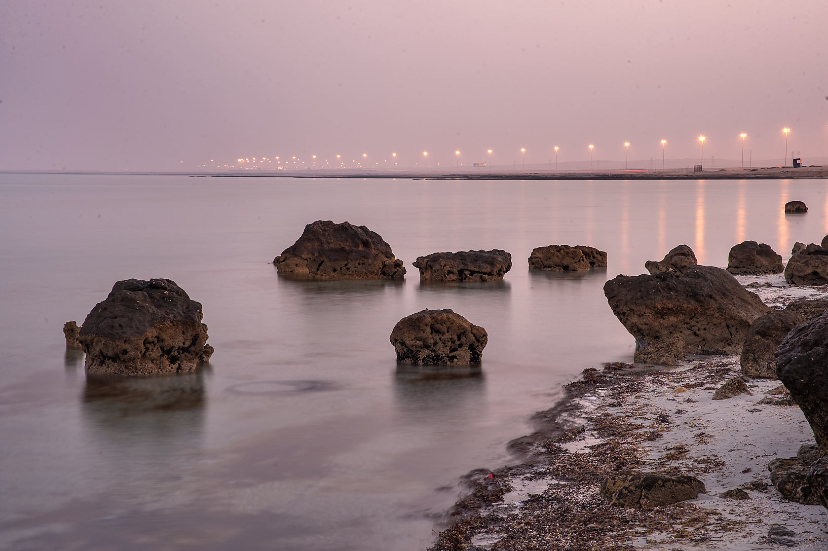 Rocks on a beach in Abu Samra, near Salwa Rd.. Qatar