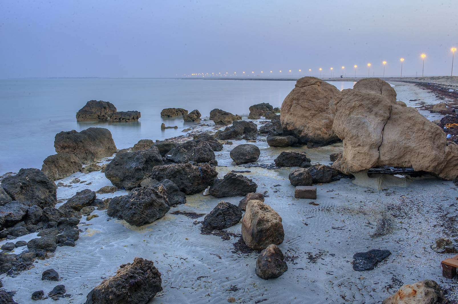 Limestone rocks on a beach in Abu Samra, near Salwa Rd.. Qatar