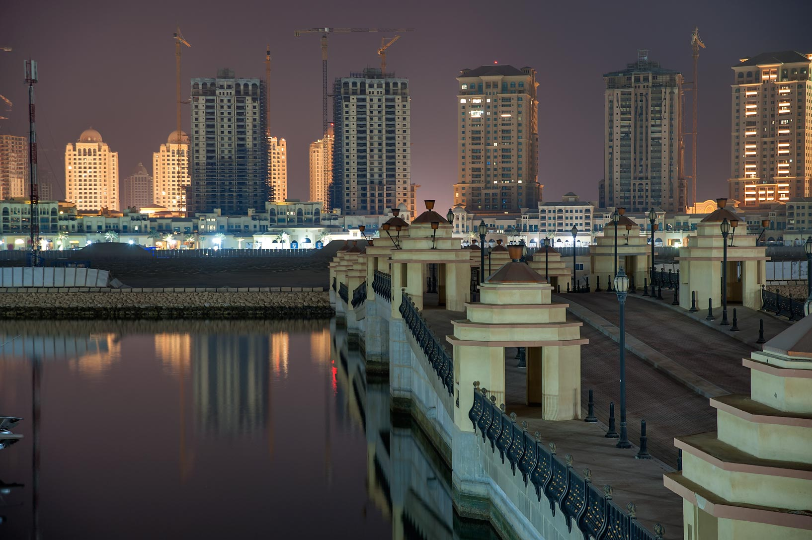 Bridge to Marsa Arabia in Pearl Qatar Development. Doha, Qatar