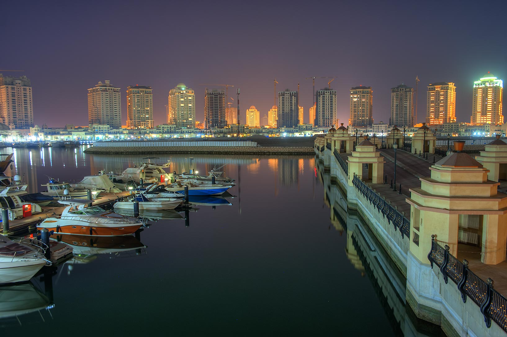 Marina of Porto Arabia in Pearl Qatar Development at morning. Doha, Qatar