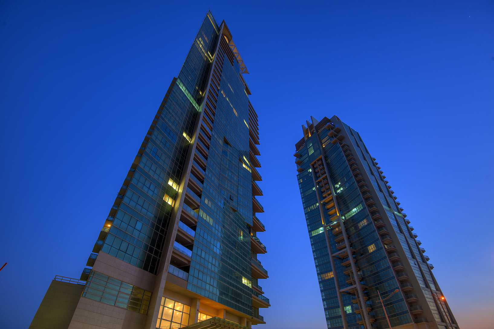 Al Rayyan and Al Reffa residential towers in West Bay. Doha, Qatar