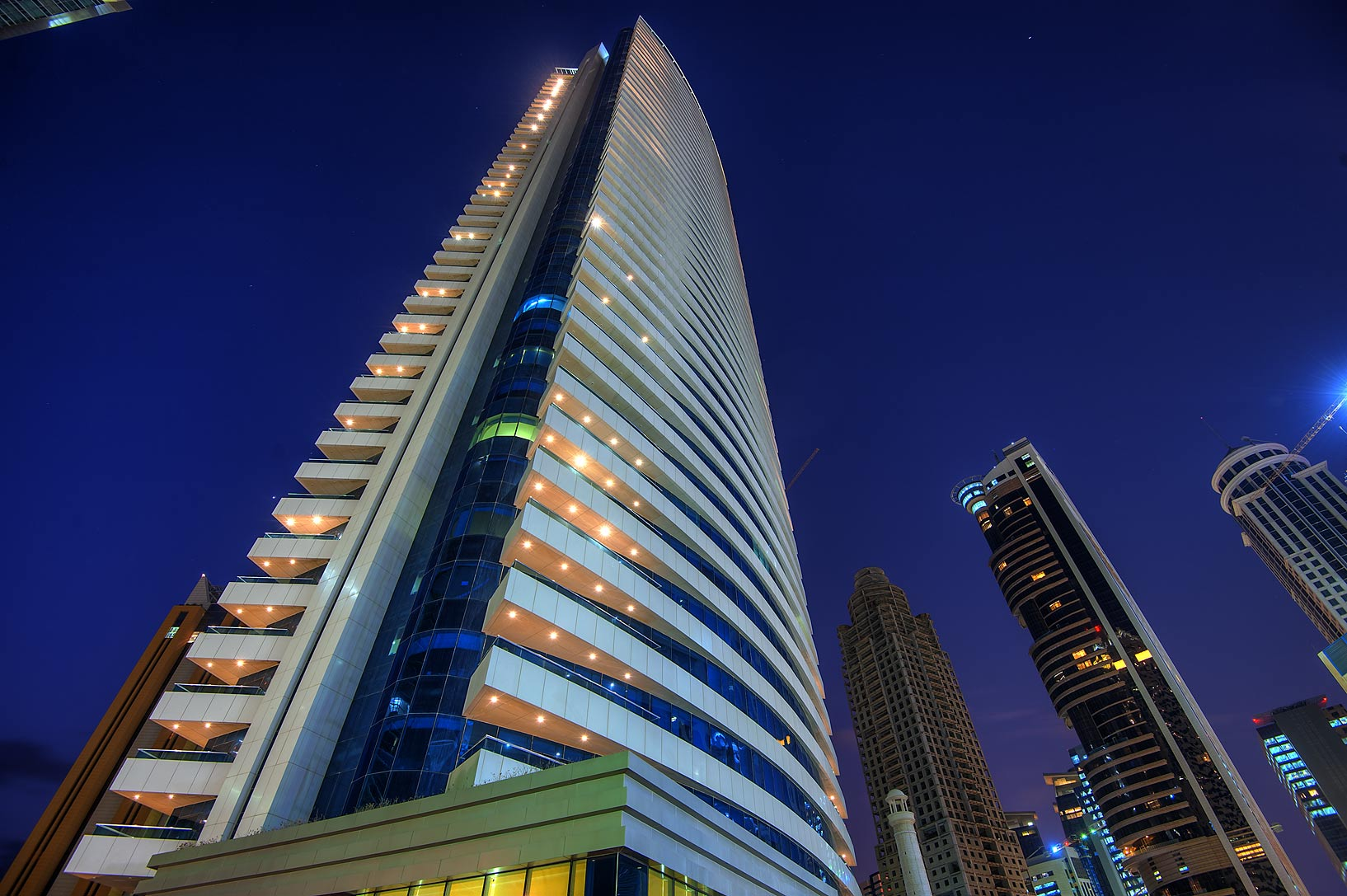 Corner of 44 West Bay Tower in West Bay. Doha, Qatar