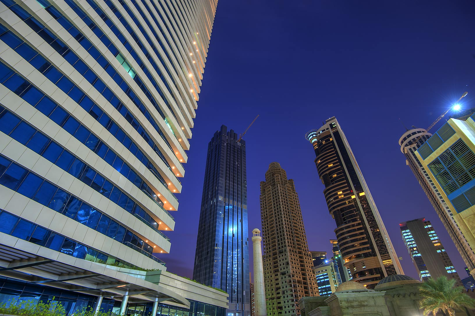 Foot of 44 West Bay Tower in West Bay. Doha, Qatar