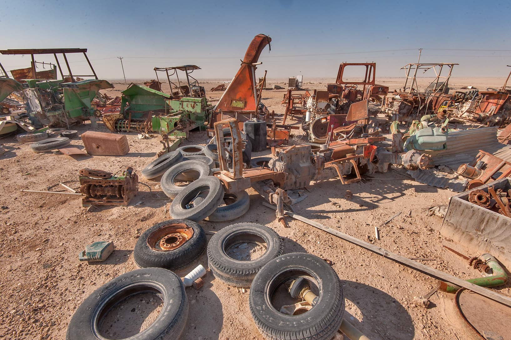 Spare tires for agricultural machinery on Green...in Irkhaya (Irkaya) Farms. Qatar