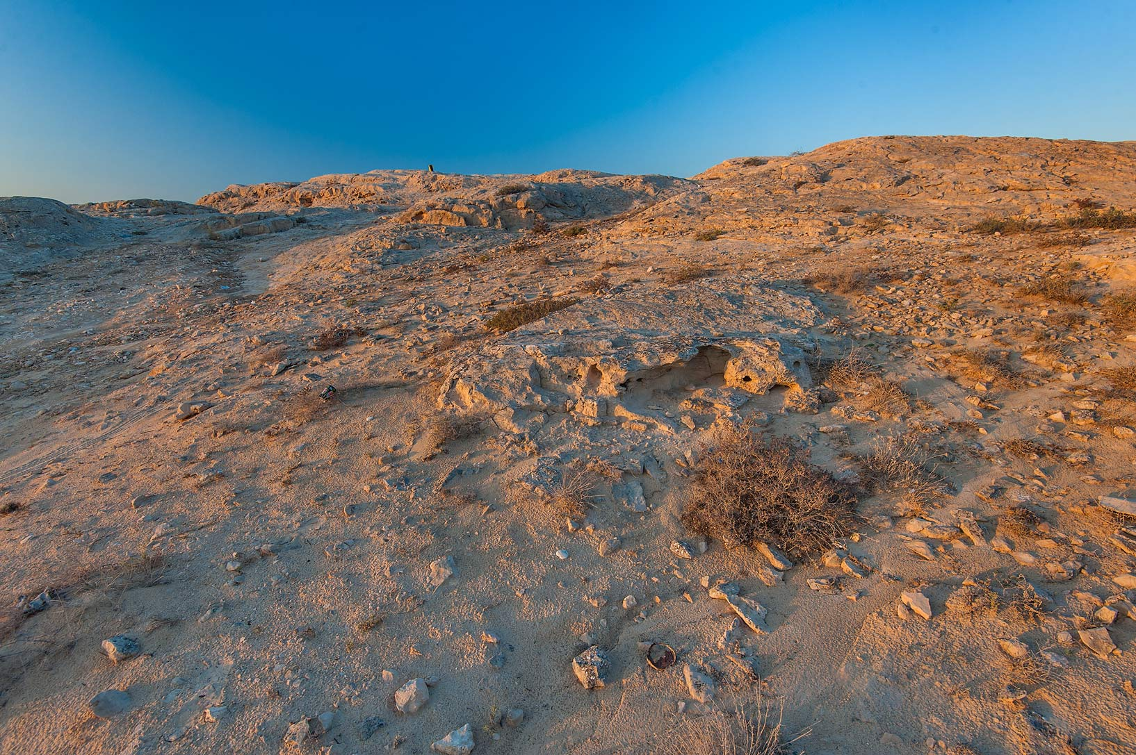 Limestone hill of Jebel Fuwairit. North-eastern Qatar