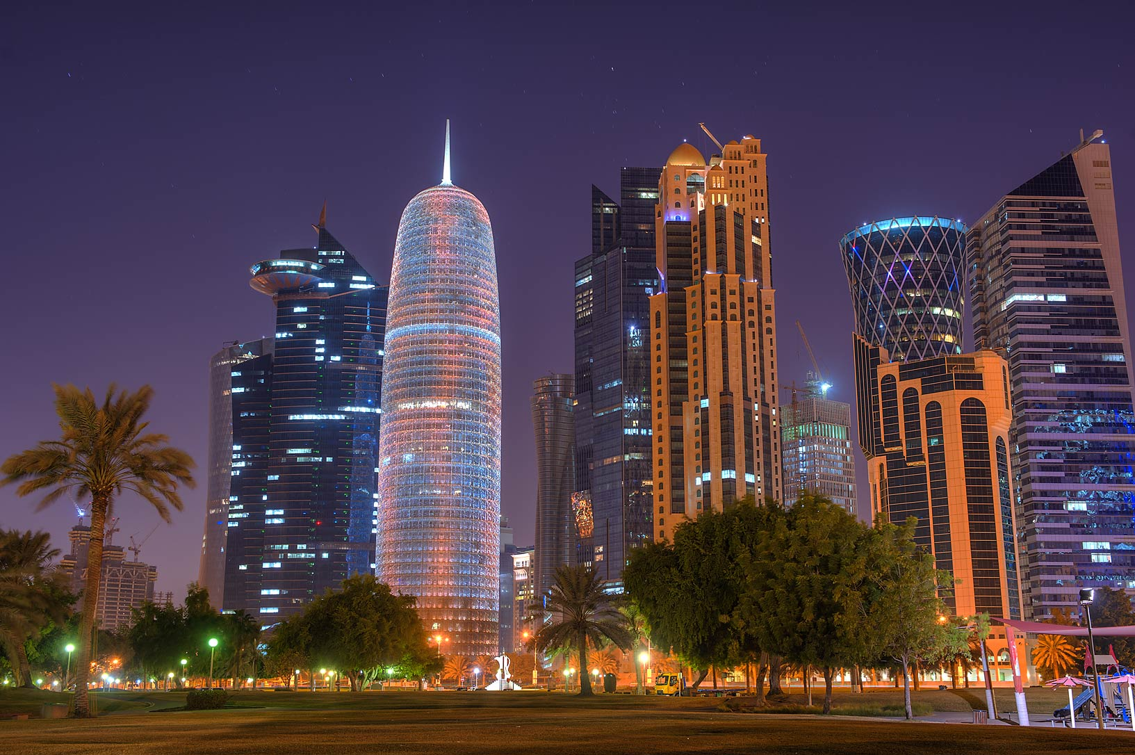West Bay towers from Sheraton Park on Corniche. Doha, Qatar