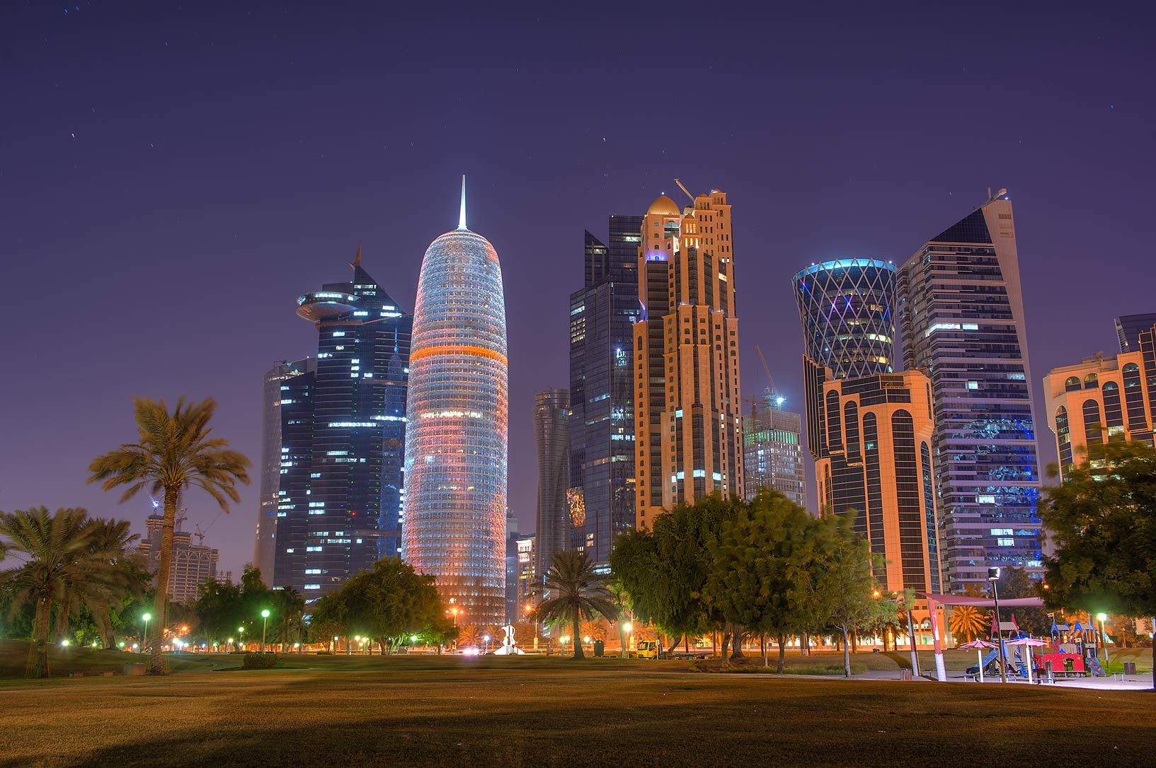 View of West Bay from Sheraton Park on Corniche. Doha, Qatar