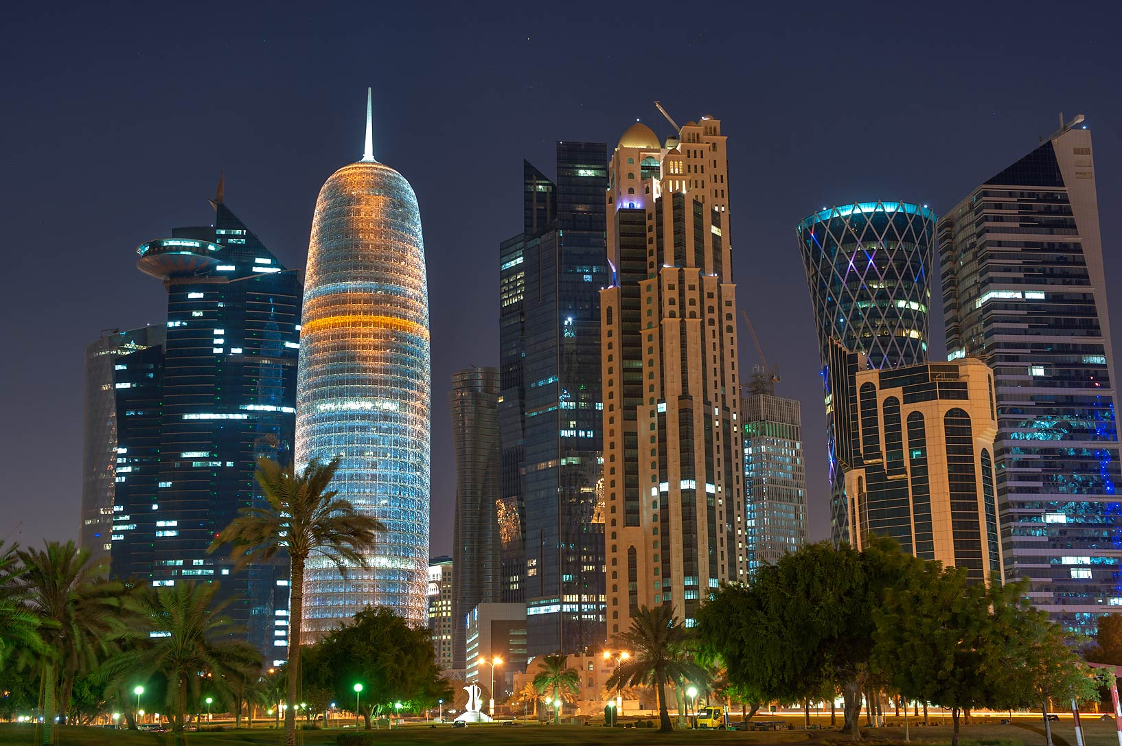 Area of Burj Qatar Tower in West Bay from Sheraton Park on Corniche. Doha, Qatar