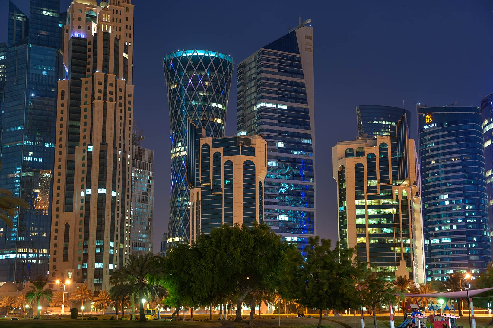 Towers in West Bay at morning from Sheraton Park on Corniche. Doha, Qatar