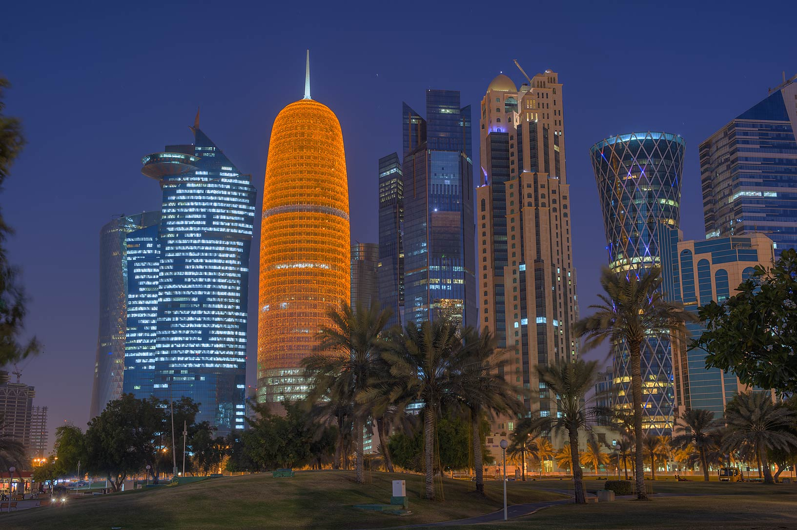 Cityscape of West Bay at morning from Sheraton Park on Corniche. Doha, Qatar