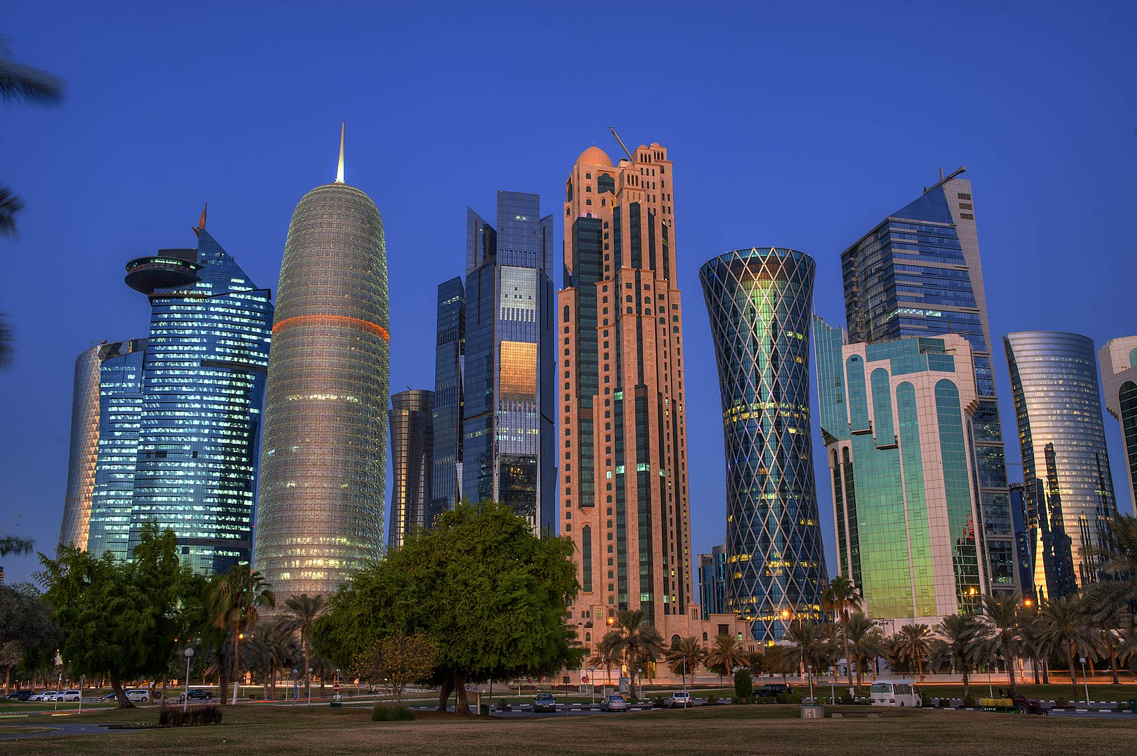 Morning view of towers of West Bay from Sheraton Park on Corniche. Doha, Qatar
