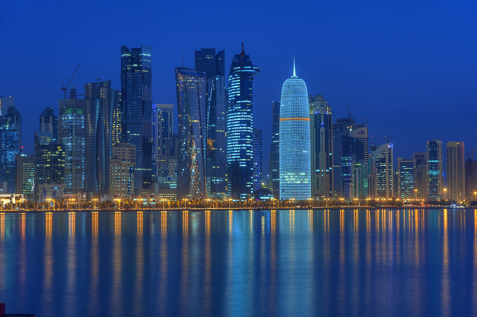 West Bay from Corniche promenade at morning dusk. Doha, Qatar