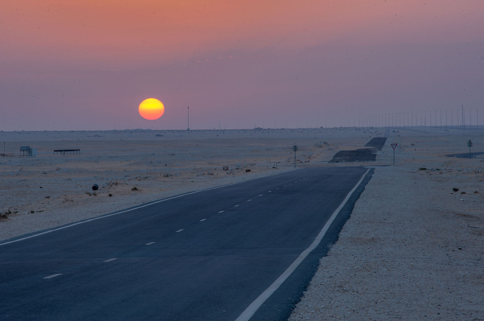 Sunrise from a service road near Dukhan Highway. Qatar