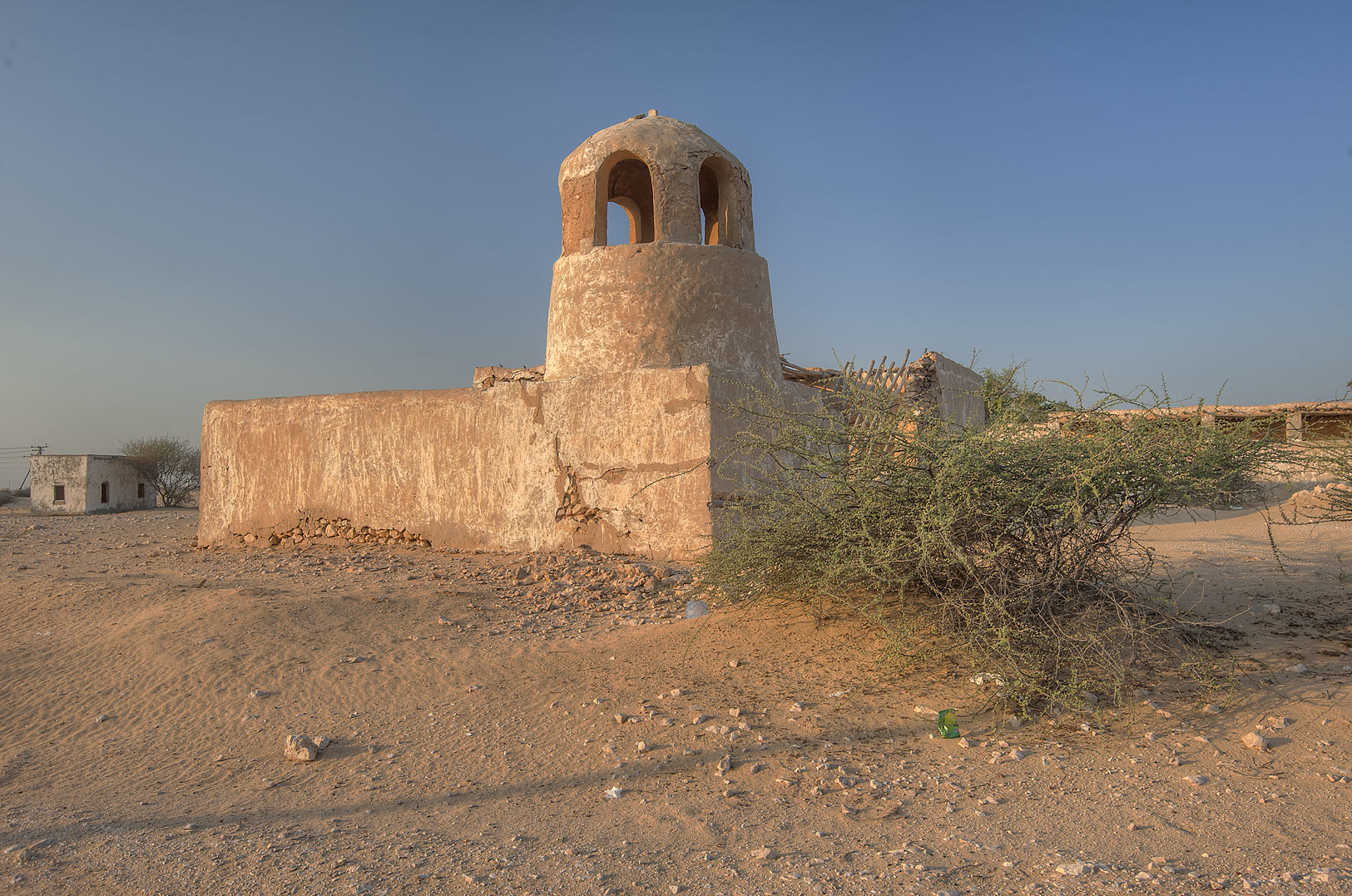 Mosque in area of Lijmiliya wells in Al Jumayliyah (Jamilla, Aljumileh). Western Qatar