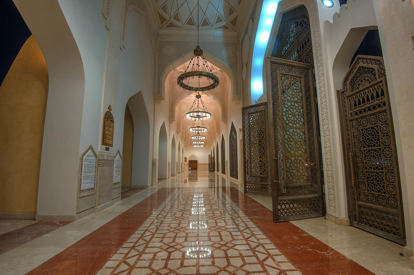Corridor of State Mosque (Sheikh Muhammad Ibn Abdul Wahhab Mosque). Doha, Qatar