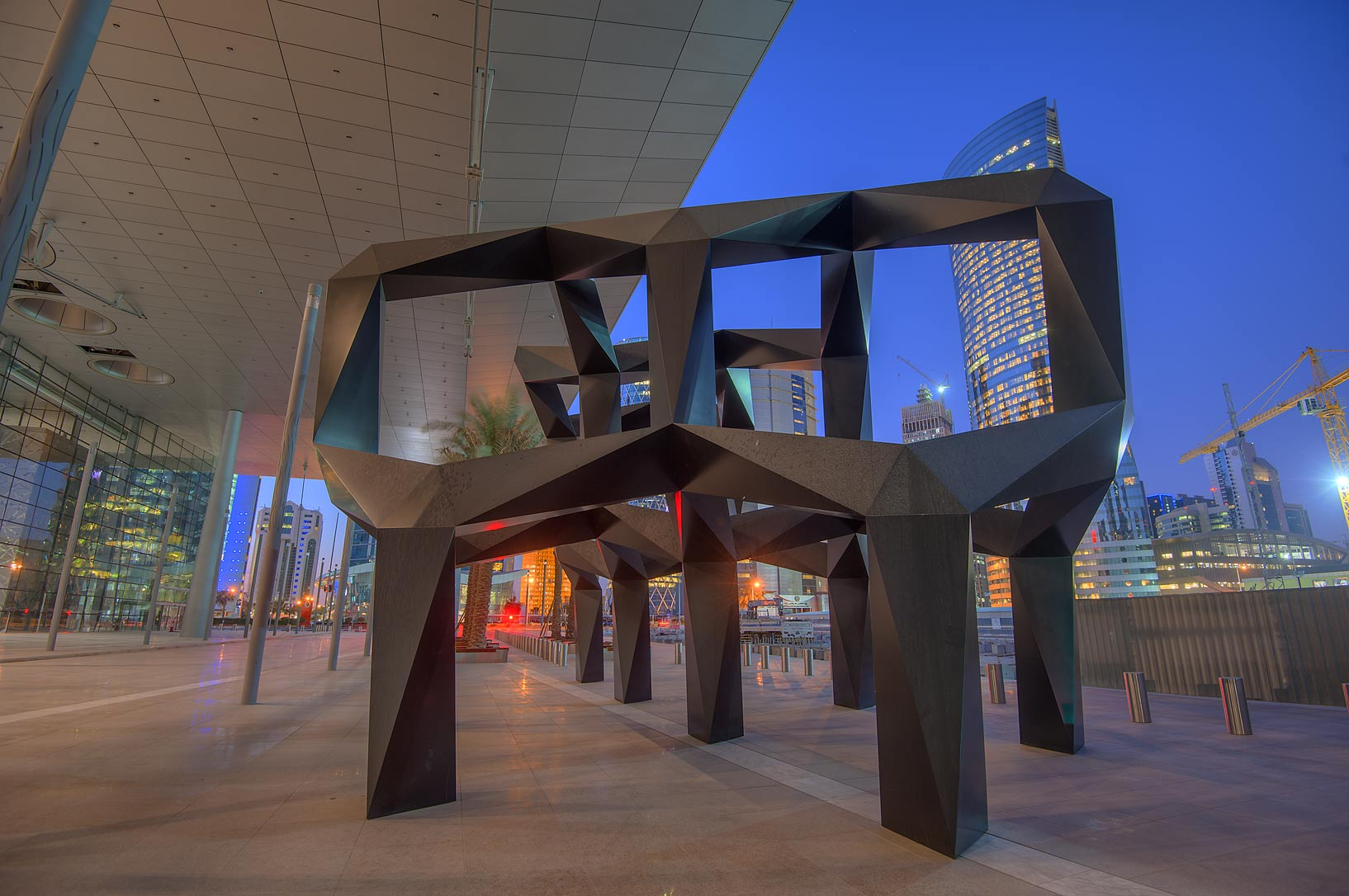 24-foot-high black geometric sculpture Smoke by...near City Center mall. Doha, Qatar