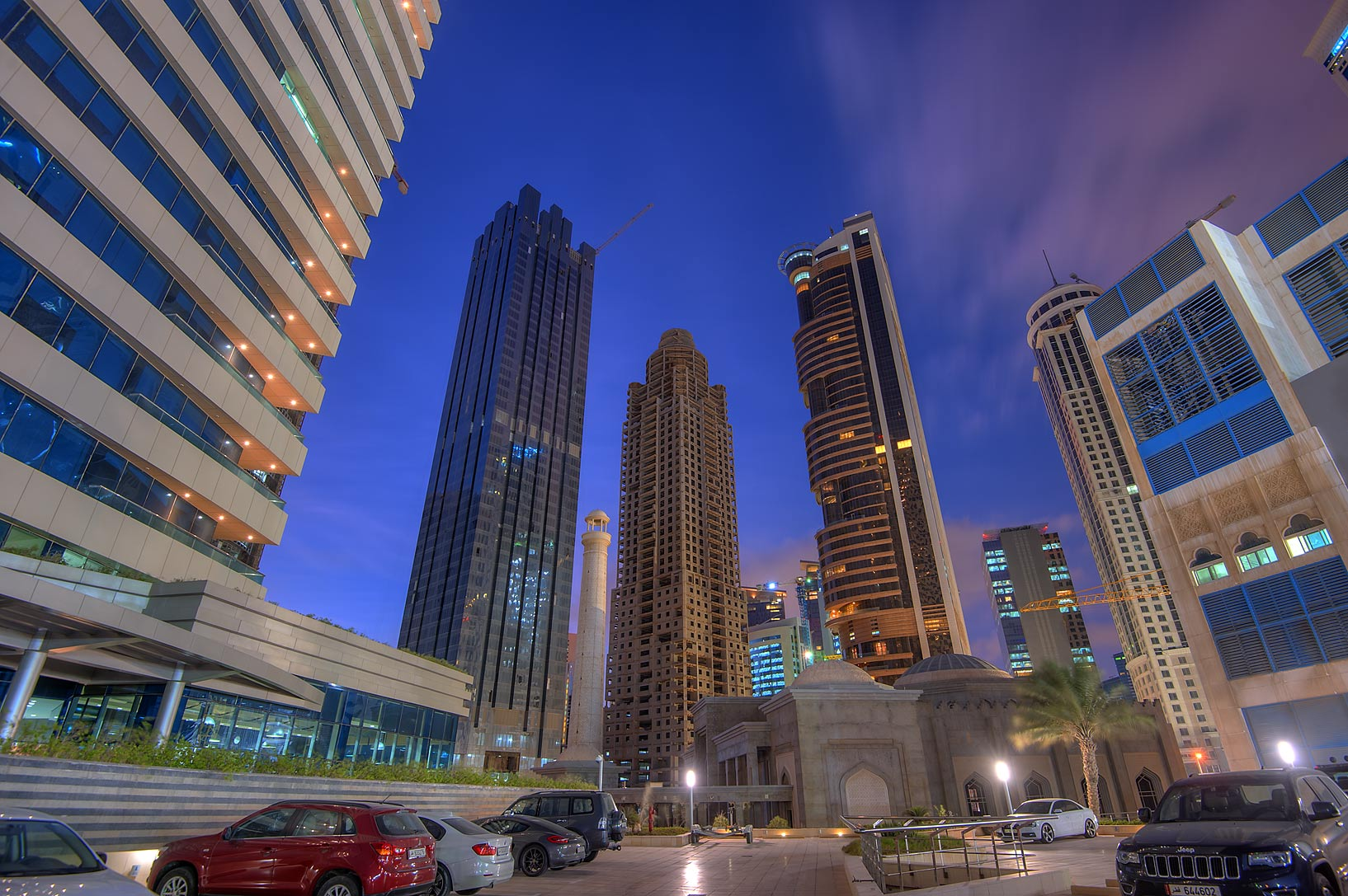 View from parking place of 44 West Bay Tower in West Bay. Doha, Qatar