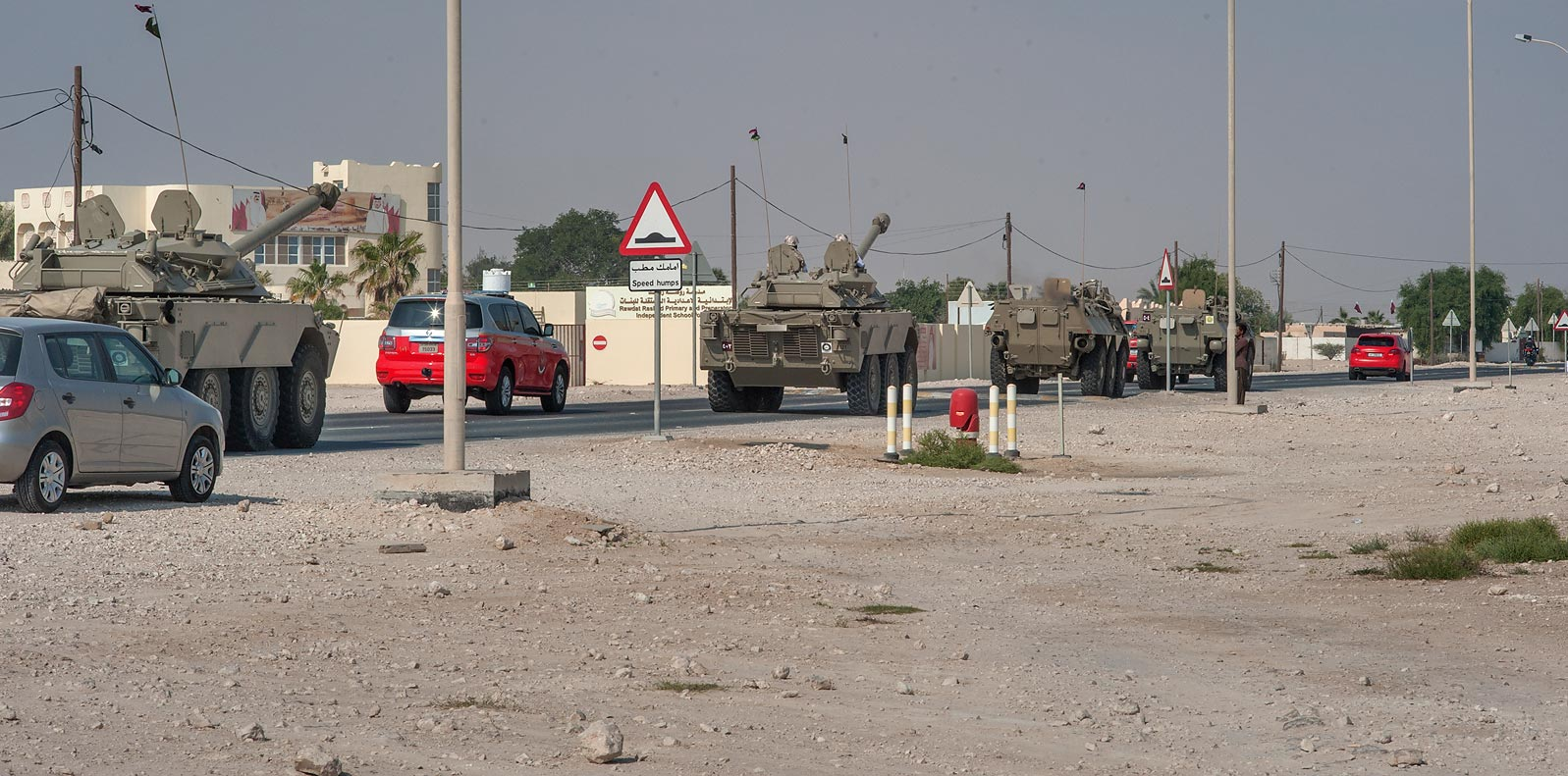 Convoy of military vehicles in Rawdat Rashed. Qatar