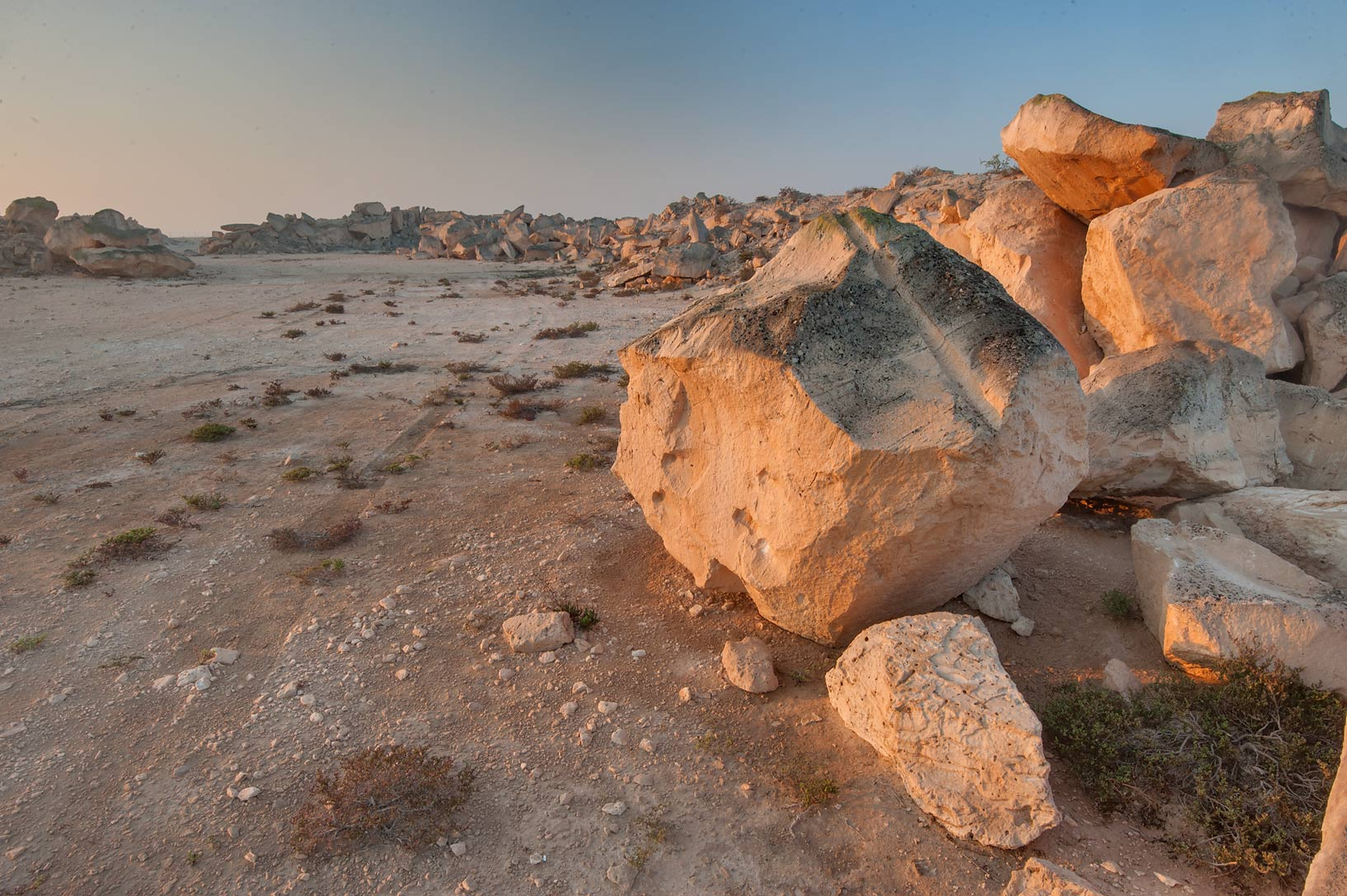 Sandstone quarry in Jabal Al Jassasiya site, on north-eastern coast. Qatar