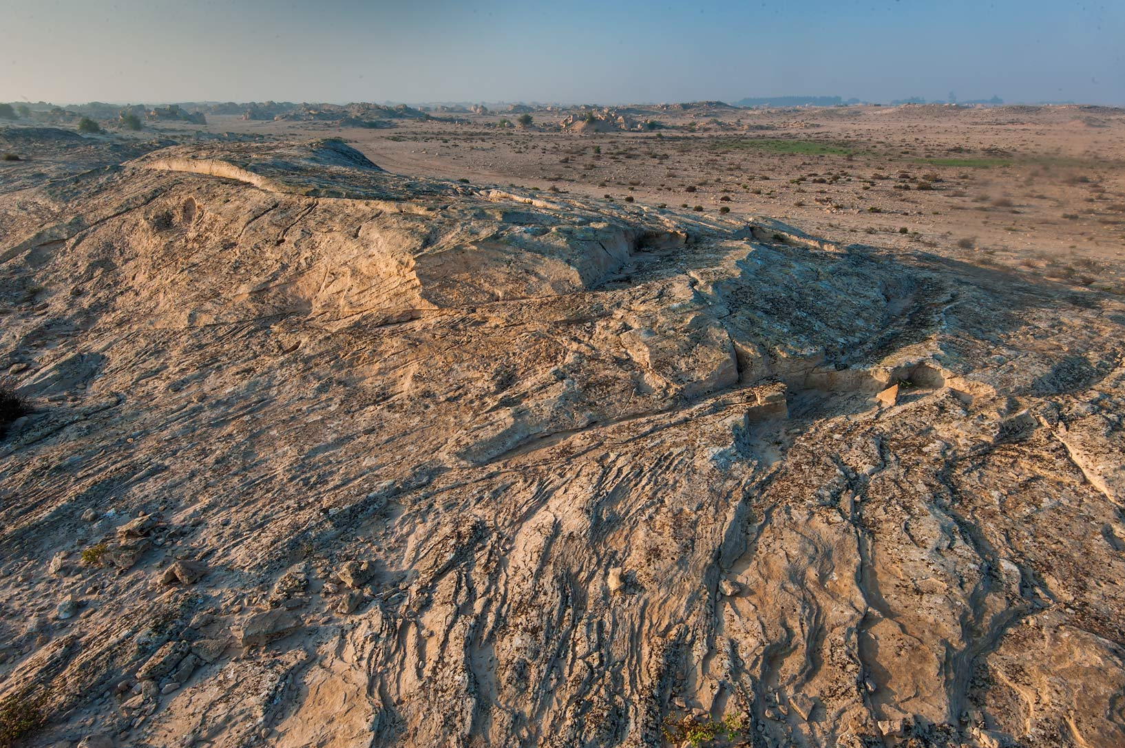 Pattern of a rocky ridge in Jabal Al Jassasiya site, on north-eastern coast. Qatar