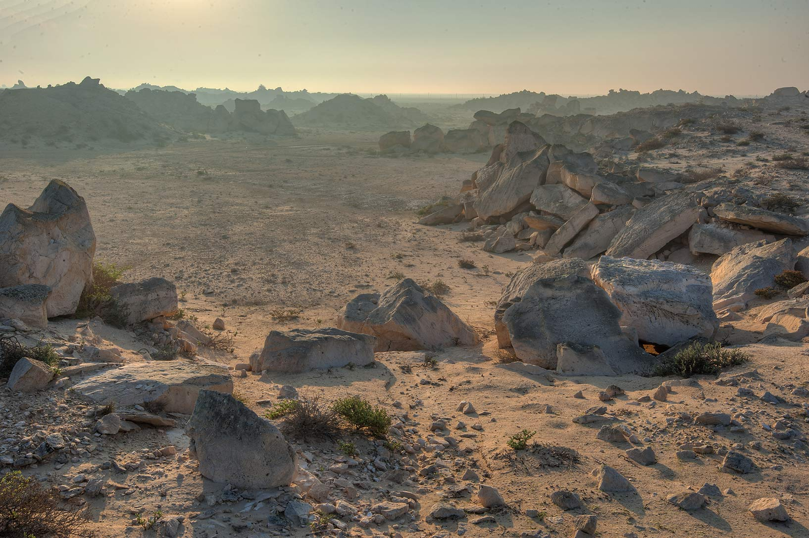 Sunrise over a stone quarry at Jabal Al Jassasiya site, on north-eastern coast. Qatar