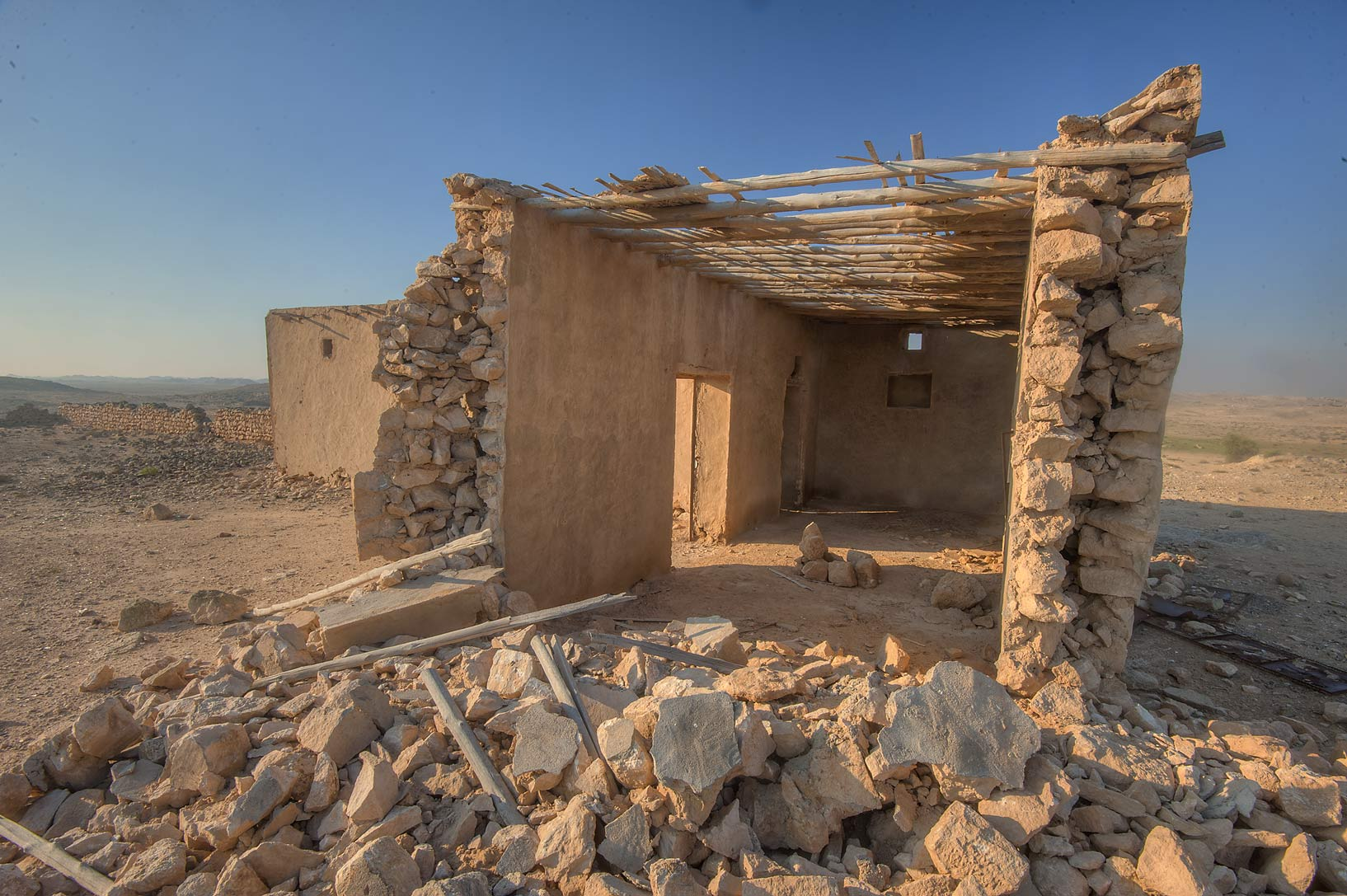 Old house behind Jabal Al Jassasiya near Umm Al Gharaneej, on north-eastern coast. Qatar