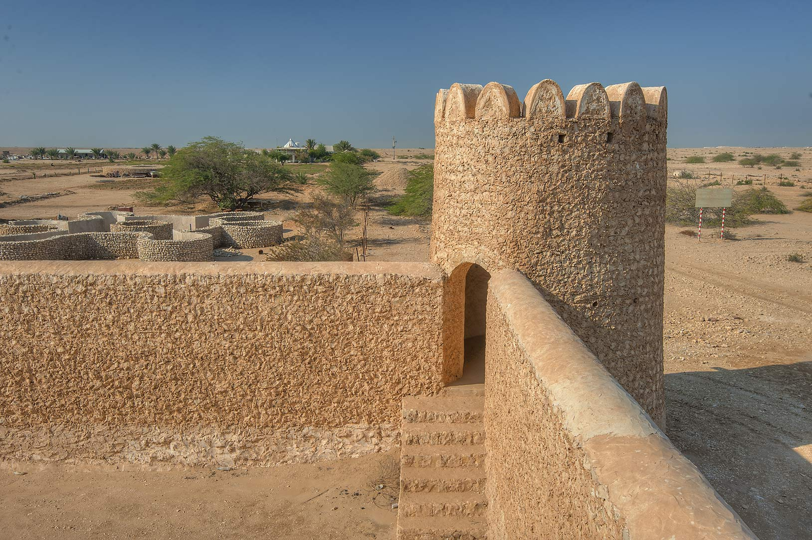 Corner of Al Thugab Fort, on northern coast. Qatar