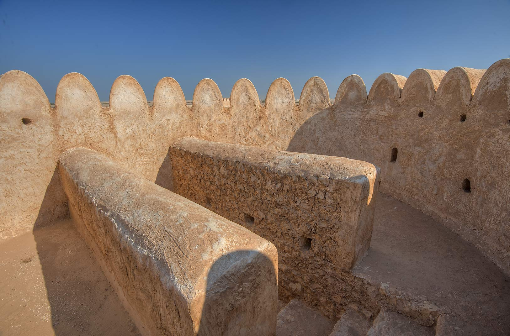 Observation deck of Al Thugab Fort, on northern coast. Qatar