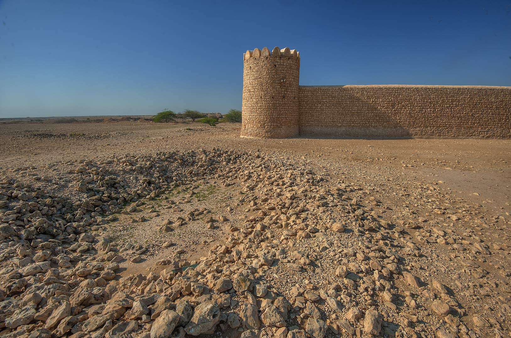 Stone ruins near Al Thugab Fort, on northern coast. Qatar