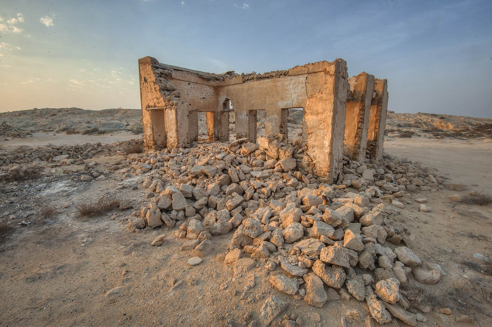 Stone walls in old fishing village (ghost town...eastern coast, Ash Shamal area. Qatar