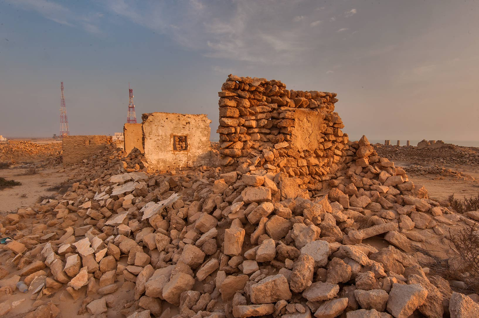 Remains of a house in old fishing village (ghost...eastern coast, Ash Shamal area. Qatar