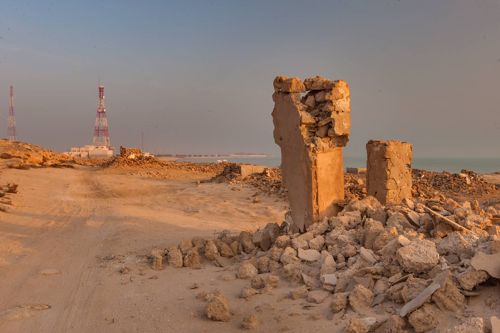 Road along Jebel in old fishing village (ghost...eastern coast, Ash Shamal area. Qatar