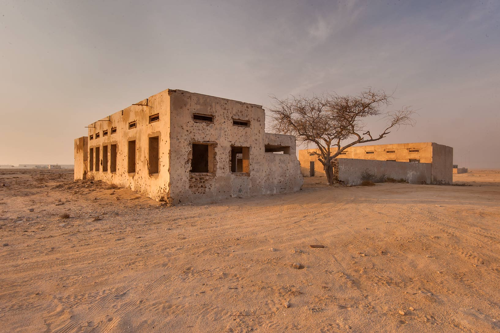 Old school building at sunrise in old fishing...eastern coast, Ash Shamal area. Qatar