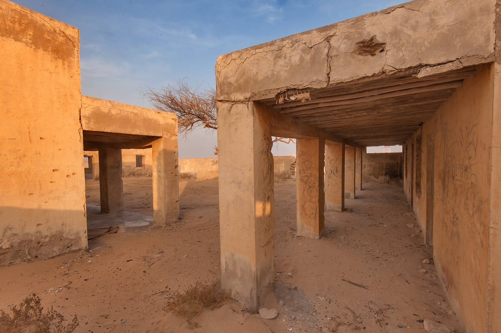 School courtyard at sunrise in old fishing...eastern coast, Ash Shamal area. Qatar