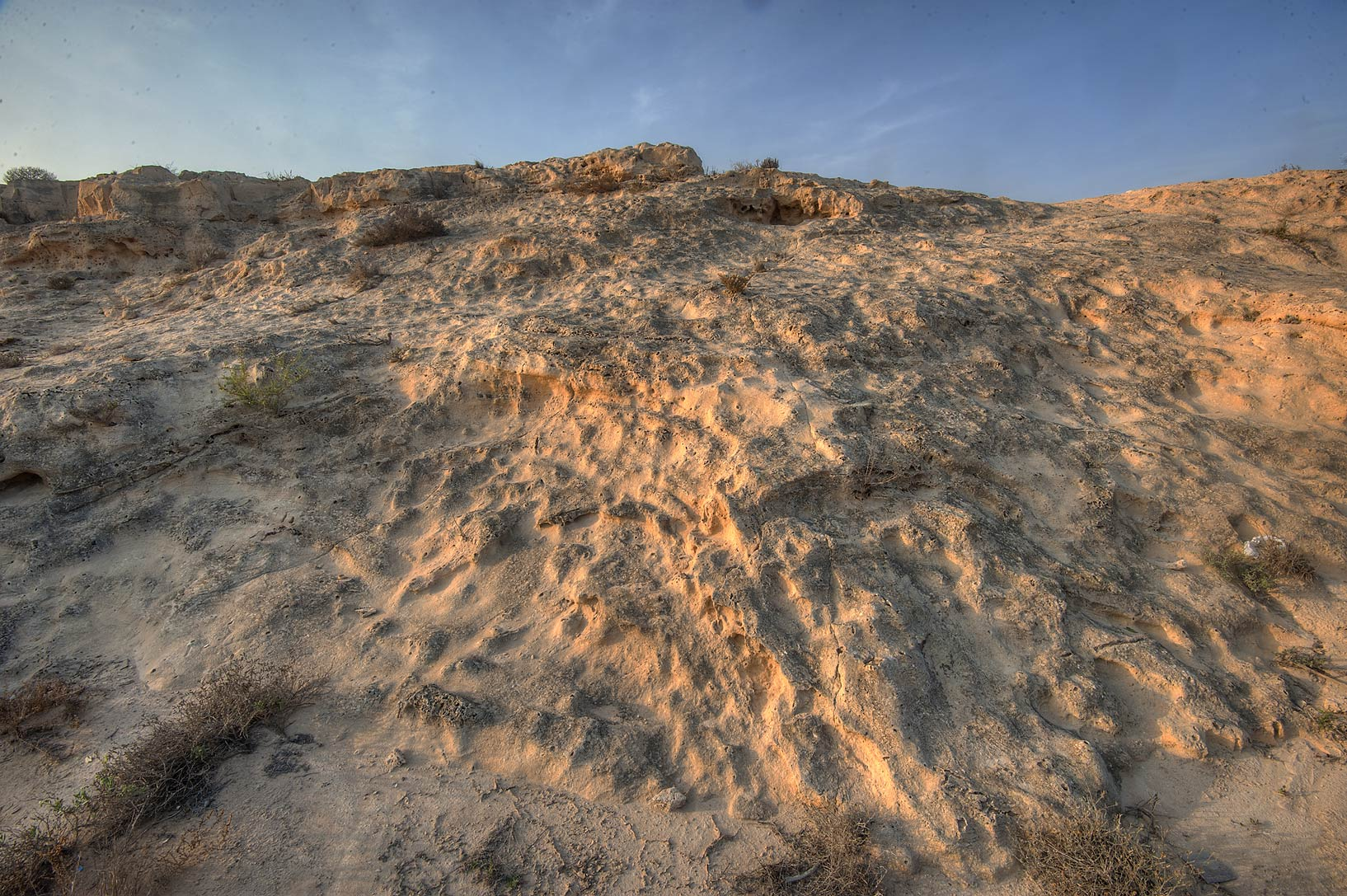 Texture of stone of jebel near old fishing...eastern coast, Ash Shamal area. Qatar