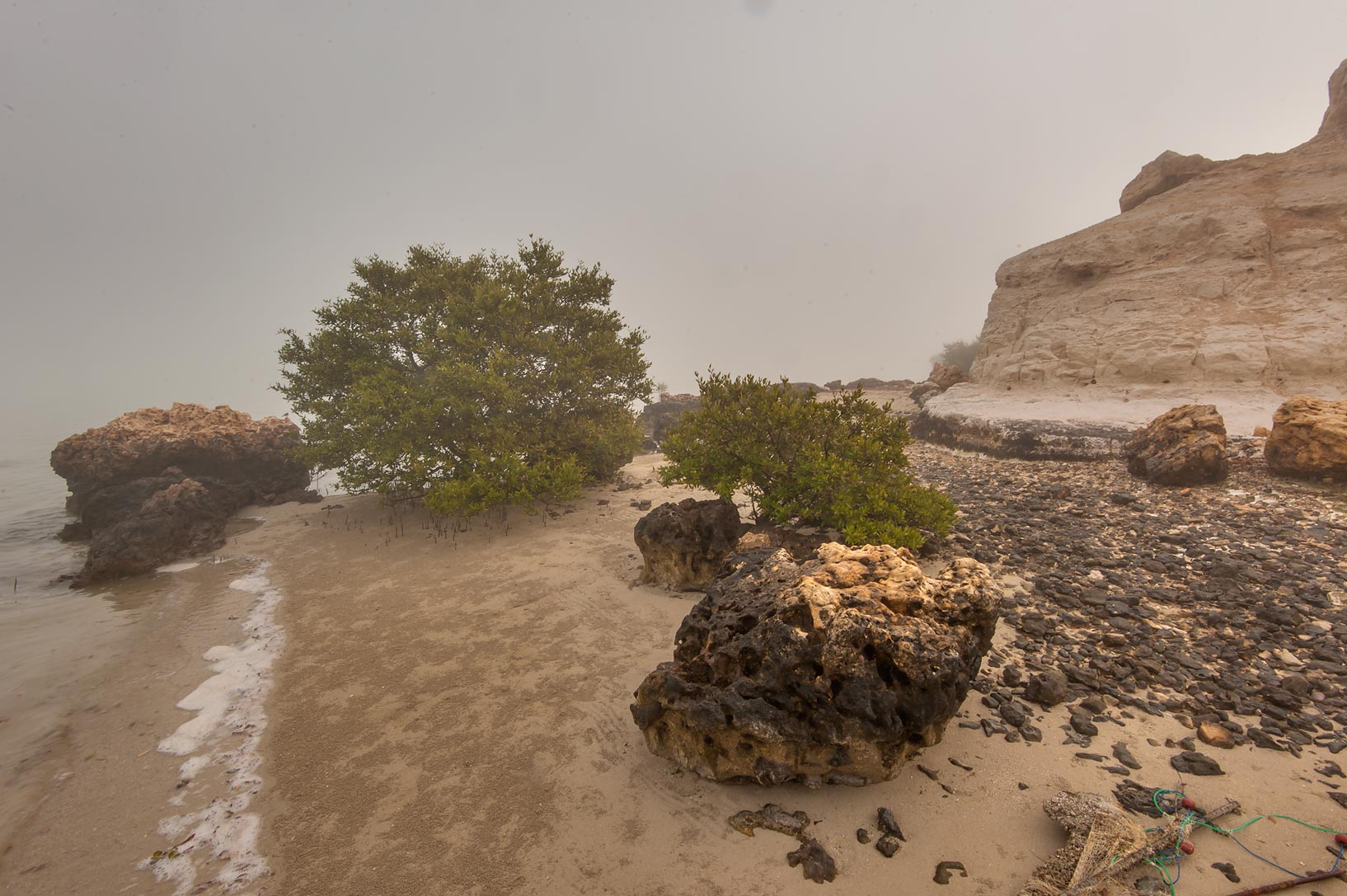 Sandy beach under northern cliffs of Purple Island (Jazirat Bin Ghanim). Al Khor, Qatar