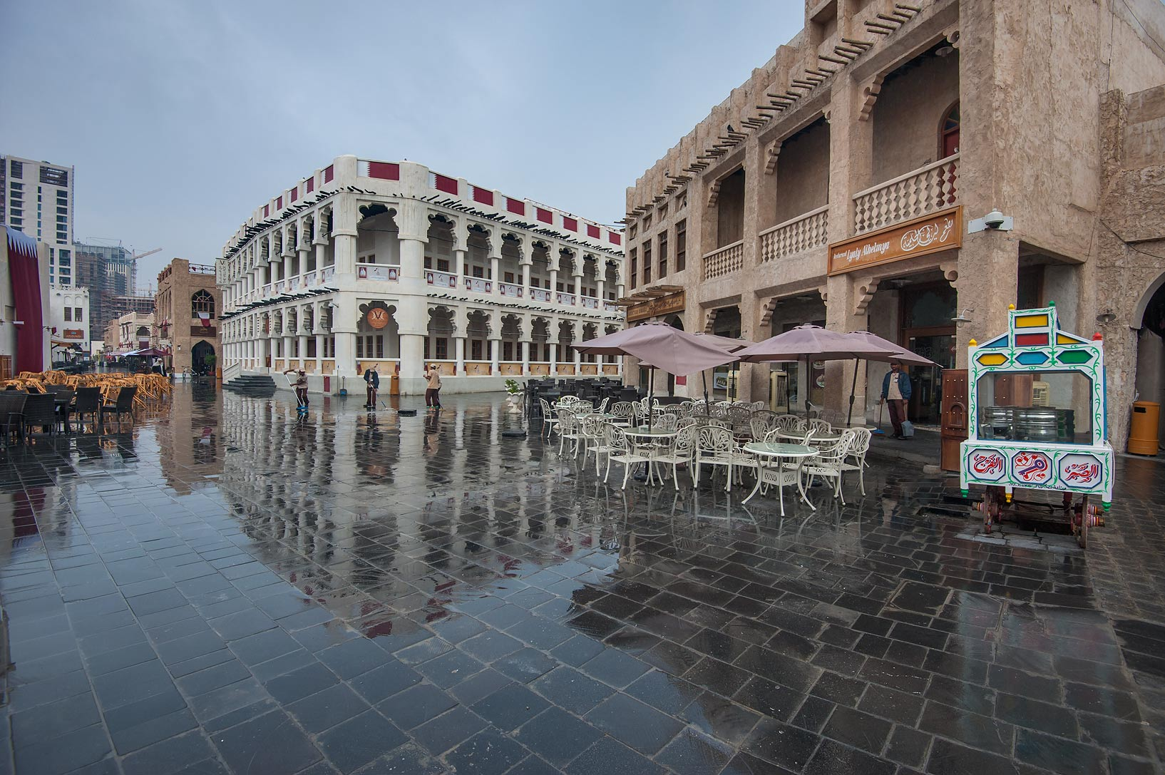 Stone pavement in Souq Waqif market at rain. Doha, Qatar